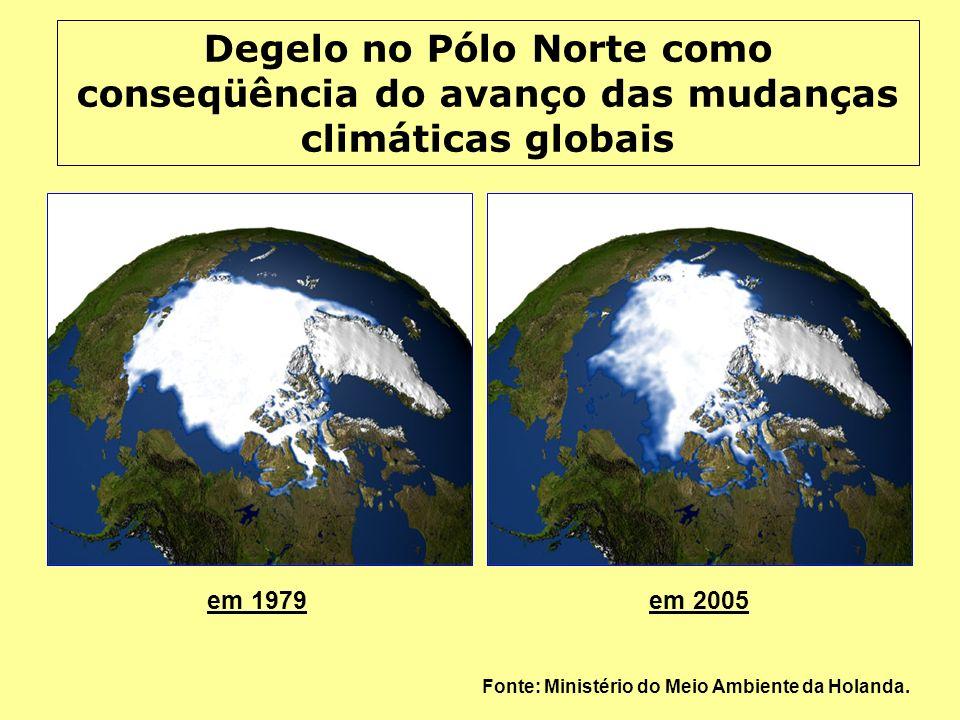 em 1979em 2005 Fonte: Ministério do Meio Ambiente da Holanda. Degelo no Pólo Norte como conseqüência do avanço das mudanças climáticas globais