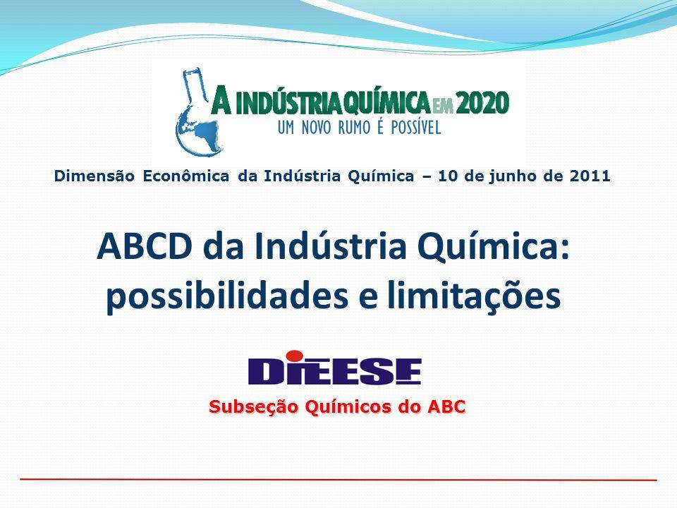ABCD da Indústria Química: possibilidades e limitações Dimensão Econômica da Indústria Química – 10 de junho de 2011 Subseção Químicos do ABC