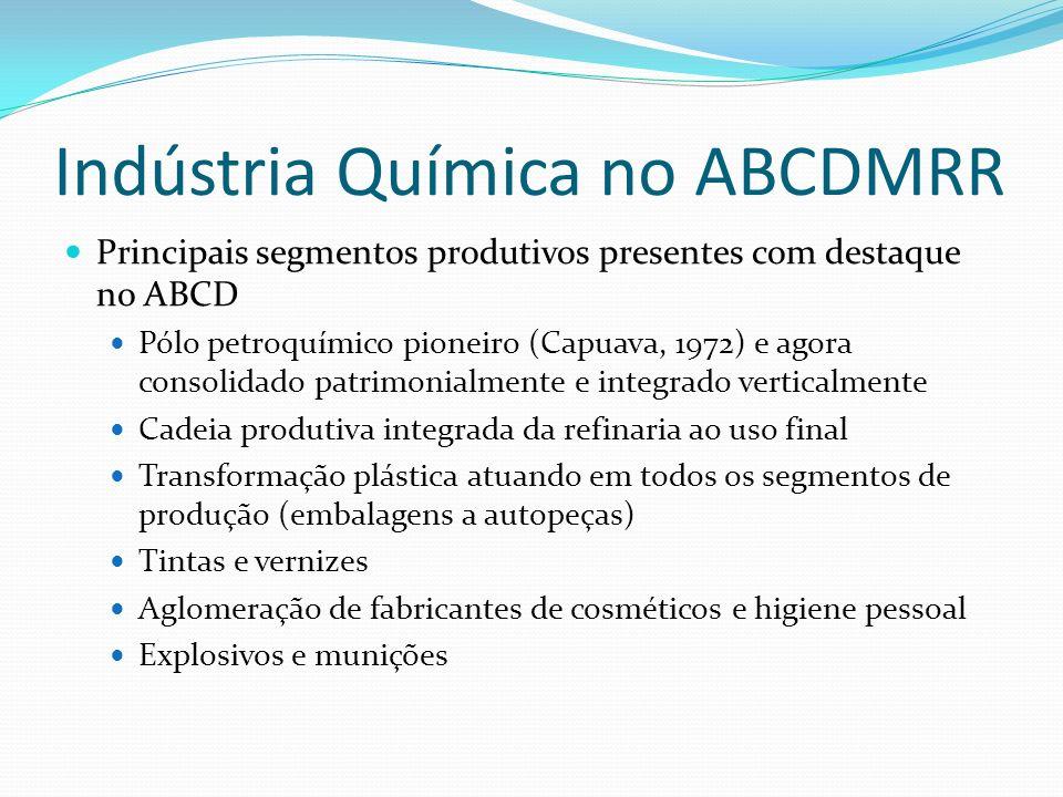 Indústria Química no ABCDMRR Principais segmentos produtivos presentes com destaque no ABCD Pólo petroquímico pioneiro (Capuava, 1972) e agora consoli