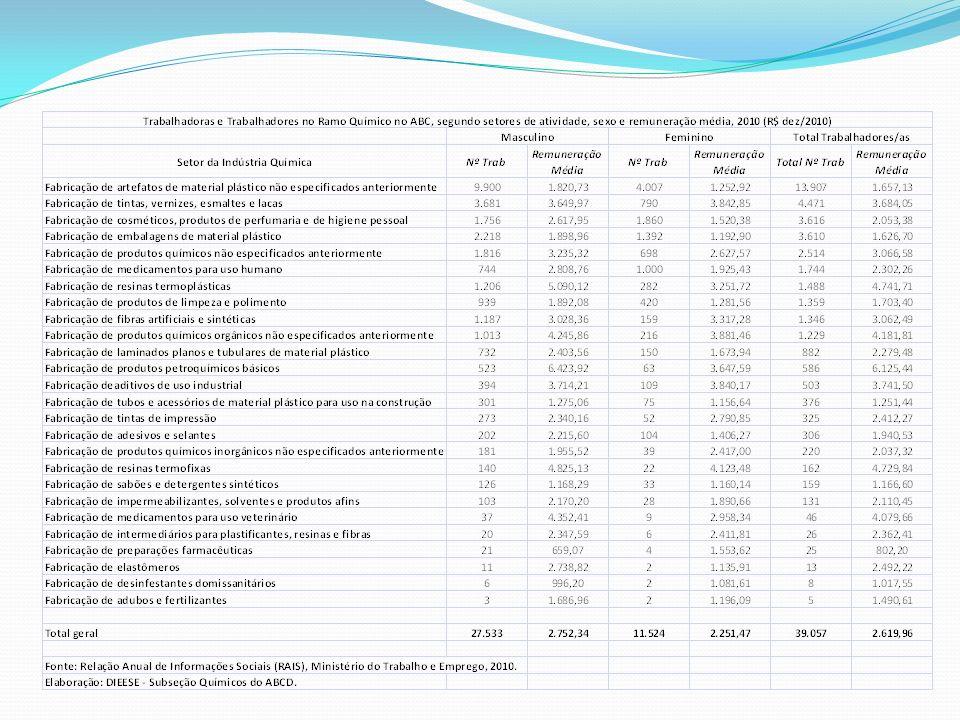 As mulheres representam 29,5% dos empregos formais e sua remuneração média corresponde a 81,8% daquela recebida pelos homens Tintas, fibras artificiais, aditivos, outros inorgânicos e preparados farmacêuticos são setores em que as mulheres recebem em média mais do que os homens Maior participação nos setores de cosméticos e farmacêutico