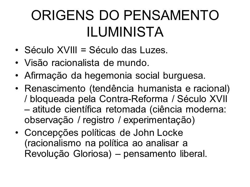ORIGENS DO PENSAMENTO ILUMINISTA Século XVIII = Século das Luzes. Visão racionalista de mundo. Afirmação da hegemonia social burguesa. Renascimento (t