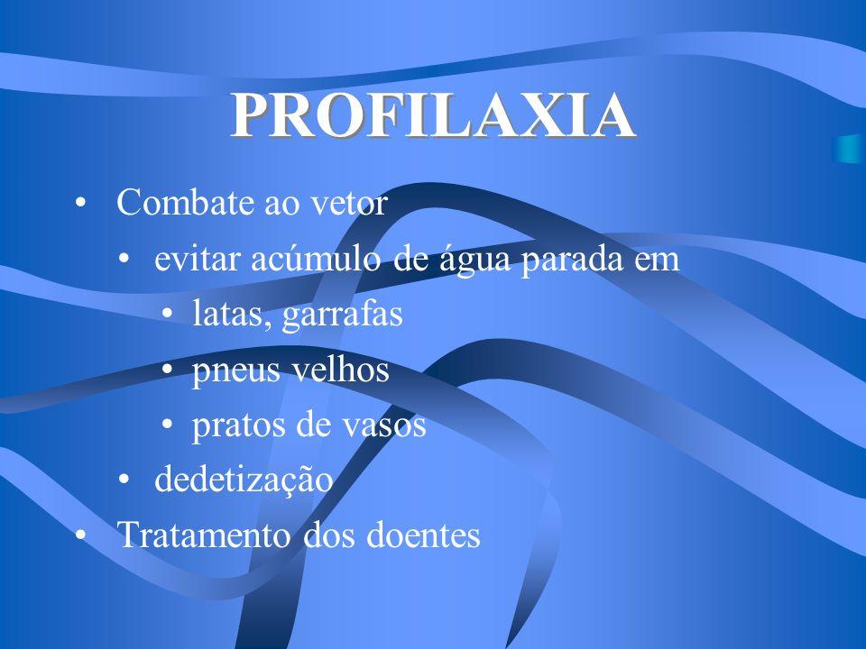 PROFILAXIA Combate ao vetor evitar acúmulo de água parada em latas, garrafas pneus velhos pratos de vasos dedetização Tratamento dos doentes