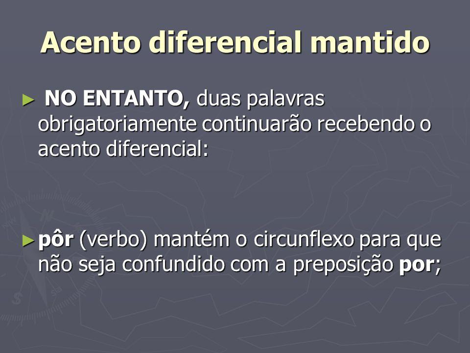Acento diferencial mantido NO ENTANTO, duas palavras obrigatoriamente continuarão recebendo o acento diferencial: NO ENTANTO, duas palavras obrigatori