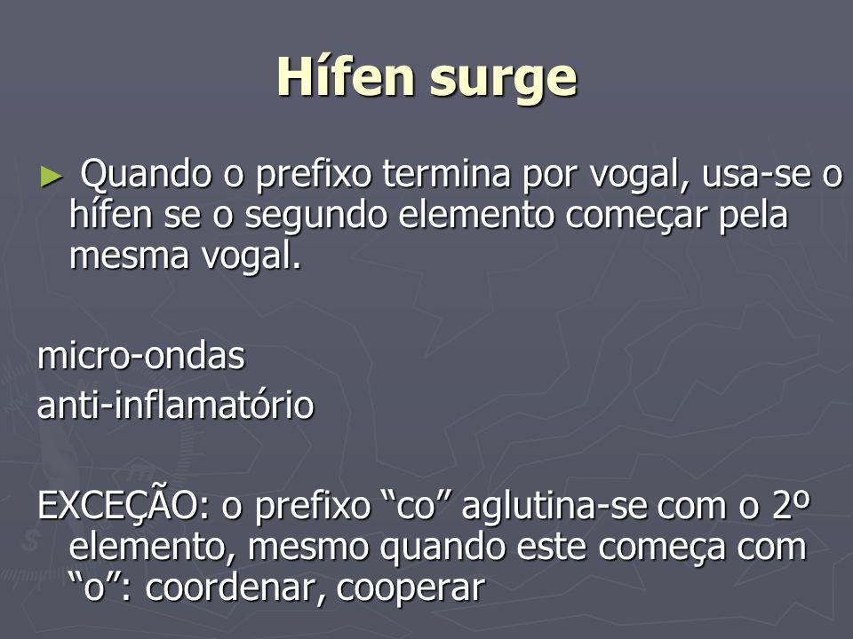 Hífen surge Quando o prefixo termina por vogal, usa-se o hífen se o segundo elemento começar pela mesma vogal. Quando o prefixo termina por vogal, usa