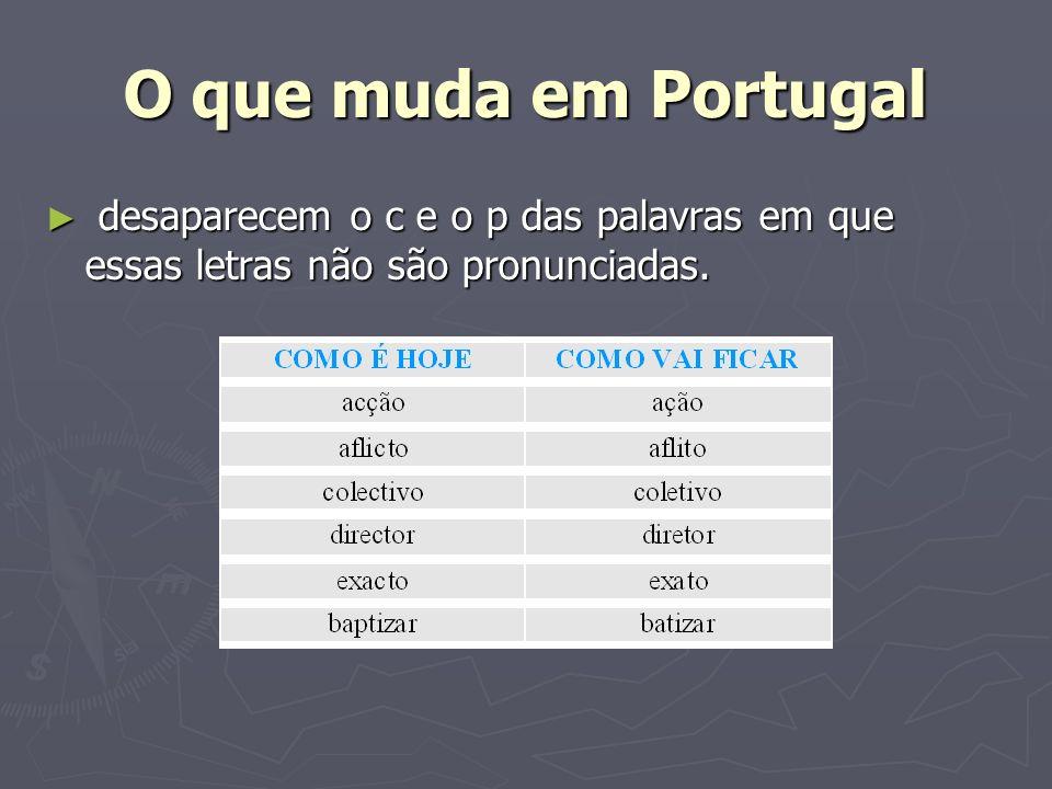 O que muda em Portugal desaparecem o c e o p das palavras em que essas letras não são pronunciadas. desaparecem o c e o p das palavras em que essas le