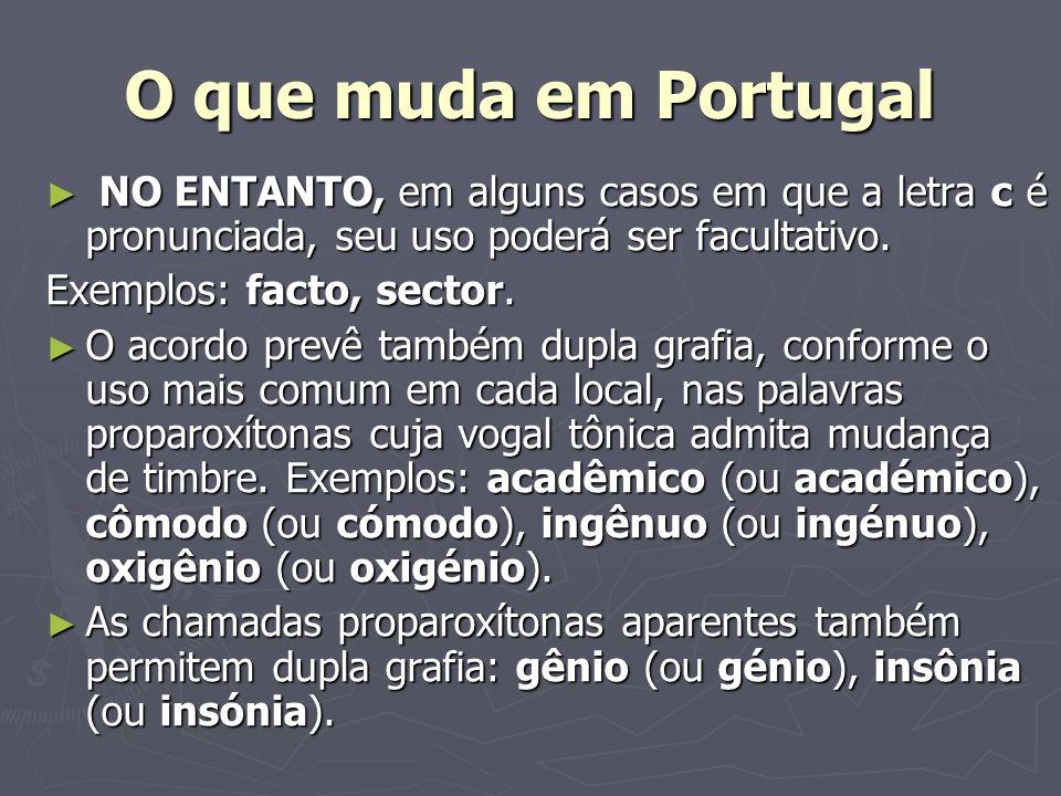 O que muda em Portugal NO ENTANTO, em alguns casos em que a letra c é pronunciada, seu uso poderá ser facultativo. NO ENTANTO, em alguns casos em que
