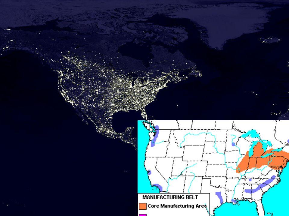 Principais áreas da agropecuária norte-americana RegiãoProdução 1a(Wheat belt - primavera) Trigo de primavea 1b(Wheat belt - inverno) Trigo de inverno 2(Pecuária Extensiva – Ranchings Belts) Gado para corte 3(Dry Farming e fruit Belt) Produção de frutas com irrigação 4(Cotton Belt)Algodão e tabaco 5(Produções Tropicais)Cítricos e cana-de- açucar 6(Corn Belts)Milho, soja e Suínos 7(Green e Dairy Belt)Cinturões verdes e gado leiteiro (Elaboração própria) (Adaptado de geography.about.com) Destaques: Petroquímica, informática e eletrônica Canadá: estímulos pelas riquezas minerais e agropecuária.