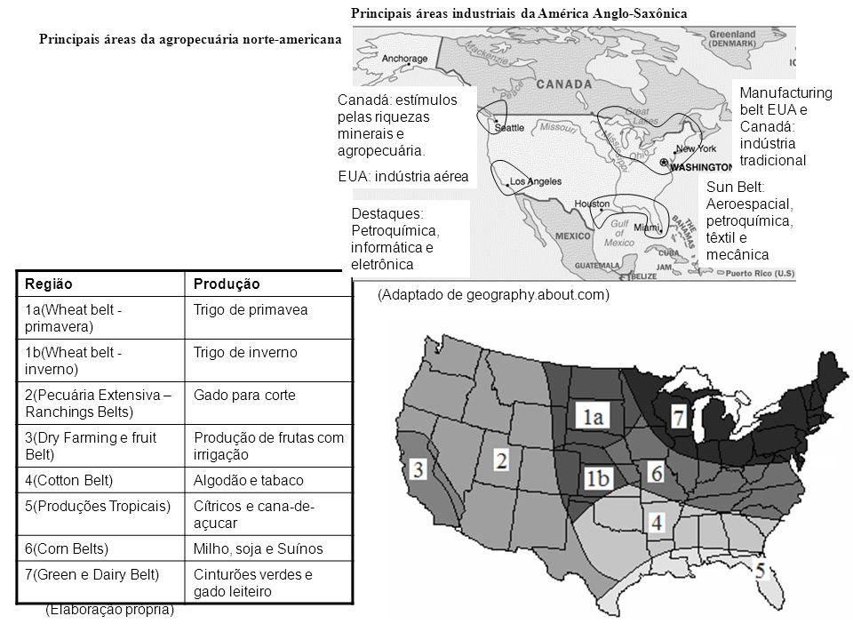 Principais áreas da agropecuária norte-americana RegiãoProdução 1a(Wheat belt - primavera) Trigo de primavea 1b(Wheat belt - inverno) Trigo de inverno