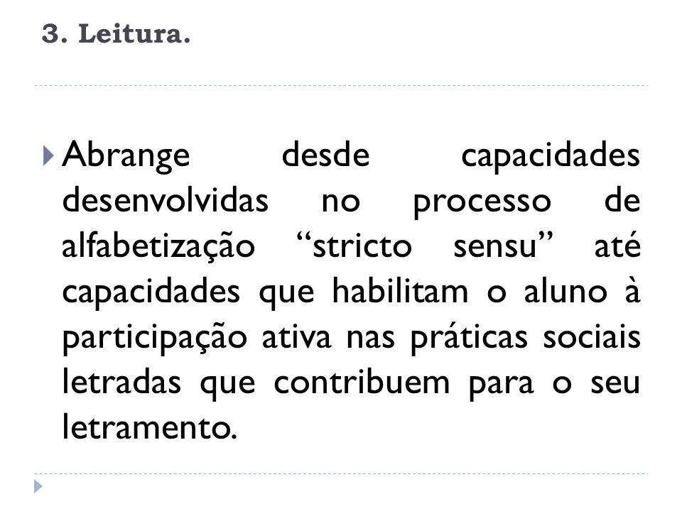 3. Leitura. Abrange desde capacidades desenvolvidas no processo de alfabetização stricto sensu até capacidades que habilitam o aluno à participação at