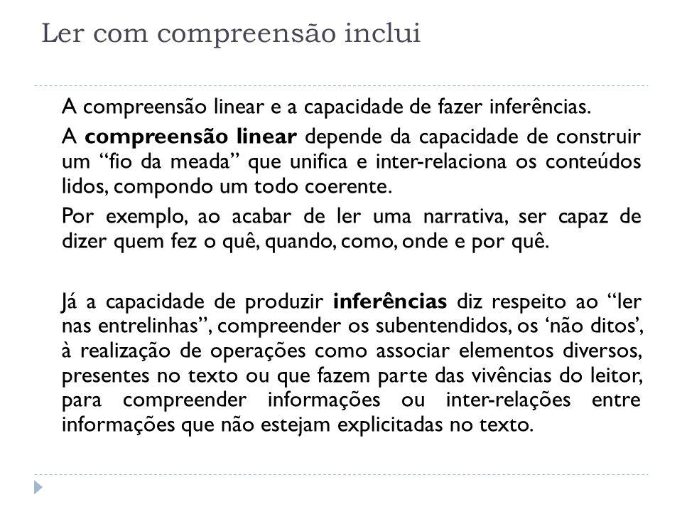 Ler com compreensão inclui A compreensão linear e a capacidade de fazer inferências. A compreensão linear depende da capacidade de construir um fio da