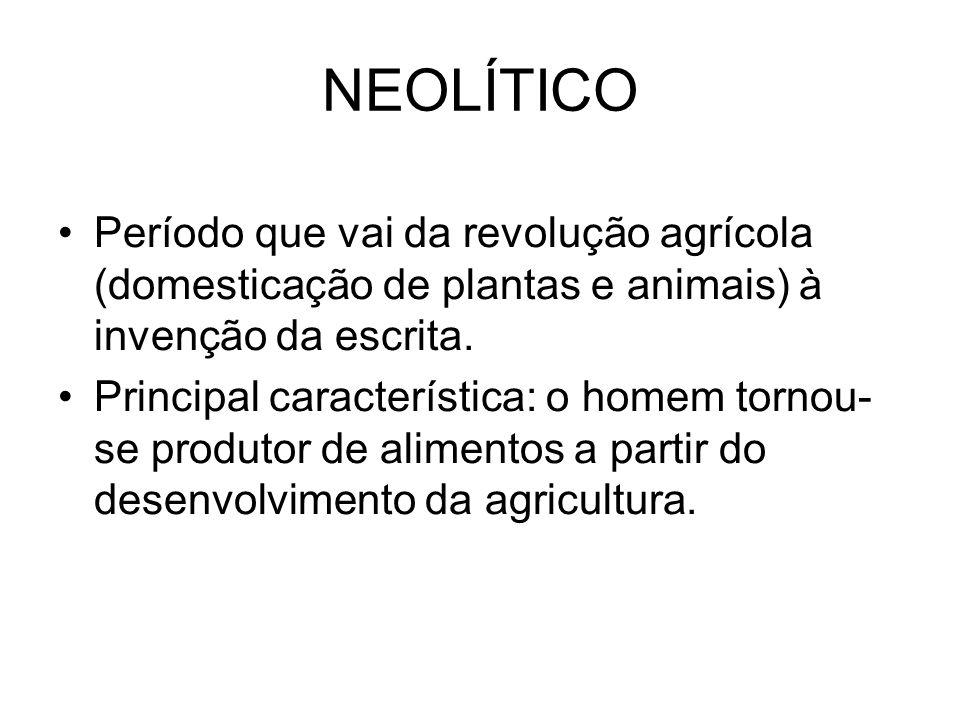 NEOLÍTICO Período que vai da revolução agrícola (domesticação de plantas e animais) à invenção da escrita. Principal característica: o homem tornou- s