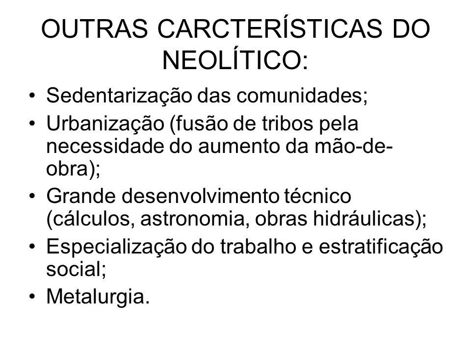 OUTRAS CARCTERÍSTICAS DO NEOLÍTICO: Sedentarização das comunidades; Urbanização (fusão de tribos pela necessidade do aumento da mão-de- obra); Grande