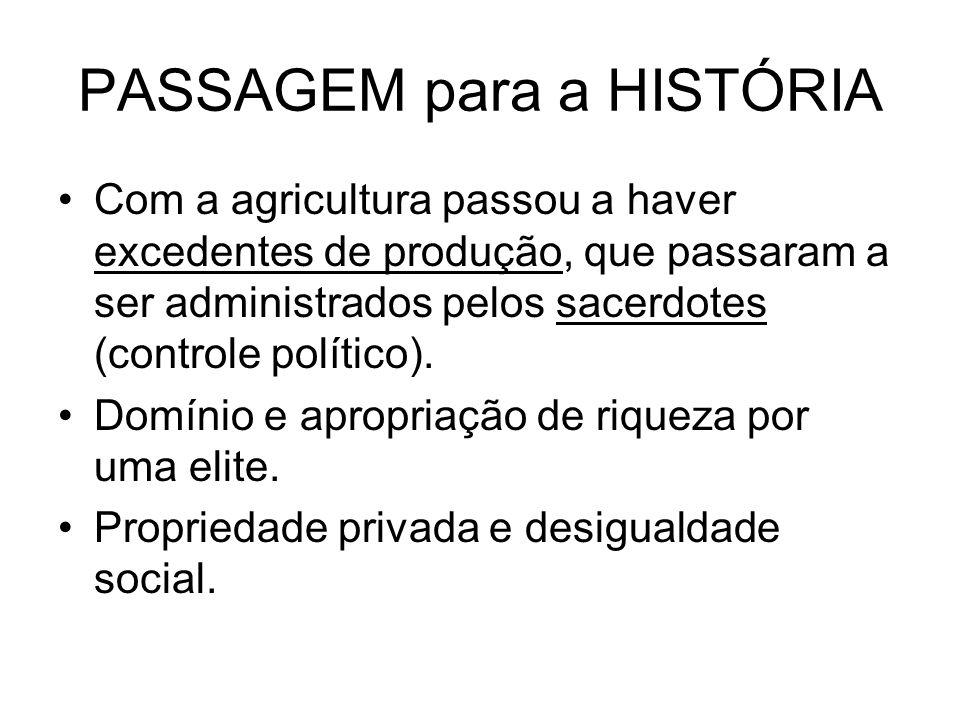 PASSAGEM para a HISTÓRIA Com a agricultura passou a haver excedentes de produção, que passaram a ser administrados pelos sacerdotes (controle político