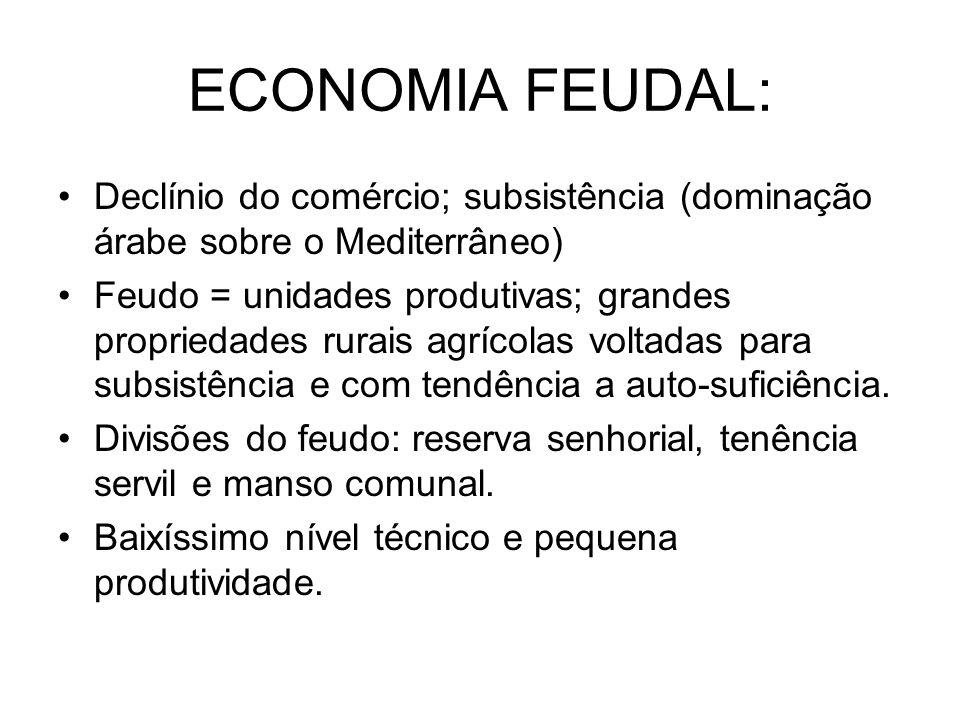 ECONOMIA FEUDAL: Declínio do comércio; subsistência (dominação árabe sobre o Mediterrâneo) Feudo = unidades produtivas; grandes propriedades rurais ag