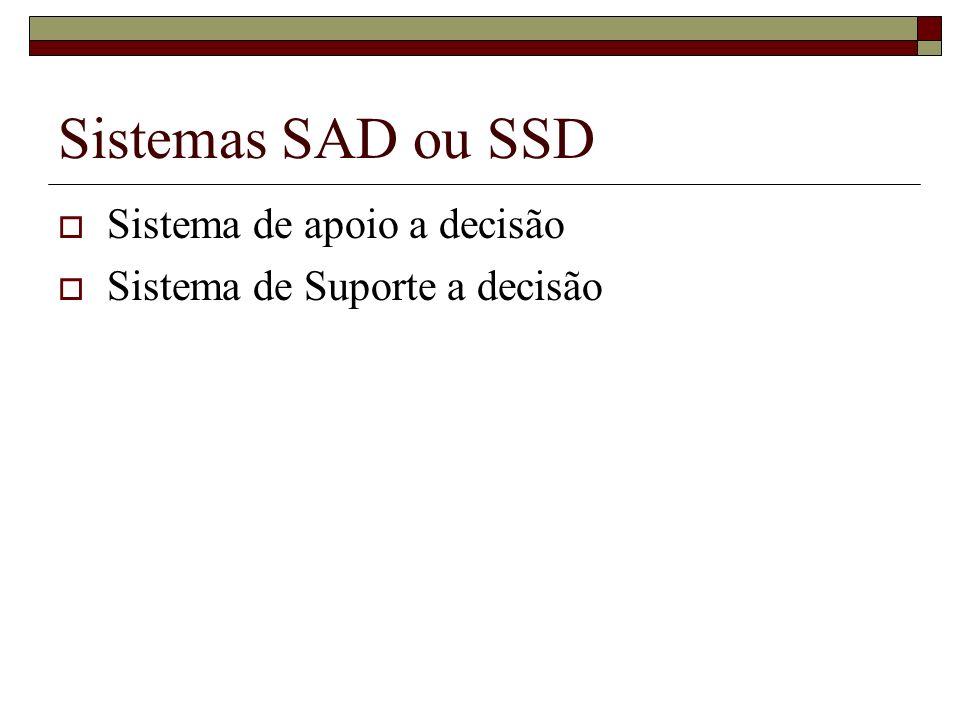 Sistemas SAD ou SSD Sistema de apoio a decisão Sistema de Suporte a decisão