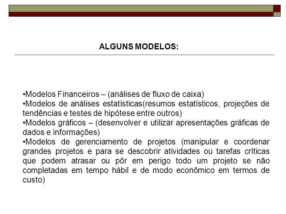 ALGUNS MODELOS: Modelos Financeiros – (análises de fluxo de caixa) Modelos de análises estatísticas(resumos estatísticos, projeções de tendências e te
