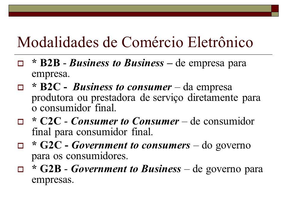 Modalidades de Comércio Eletrônico * B2B - Business to Business – de empresa para empresa. * B2C - Business to consumer – da empresa produtora ou pres