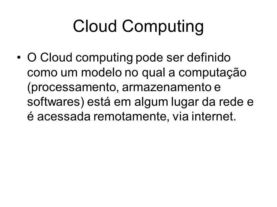 Cloud Computing O Cloud computing pode ser definido como um modelo no qual a computação (processamento, armazenamento e softwares) está em algum lugar