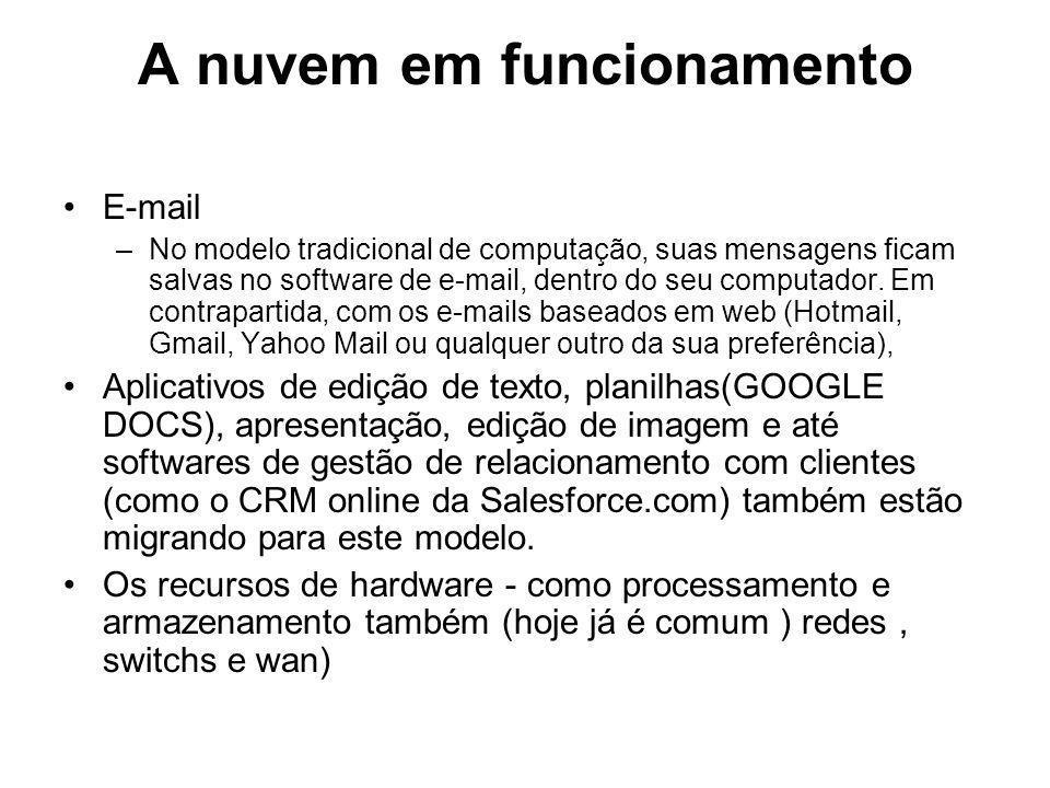 A nuvem em funcionamento E-mail –No modelo tradicional de computação, suas mensagens ficam salvas no software de e-mail, dentro do seu computador. Em