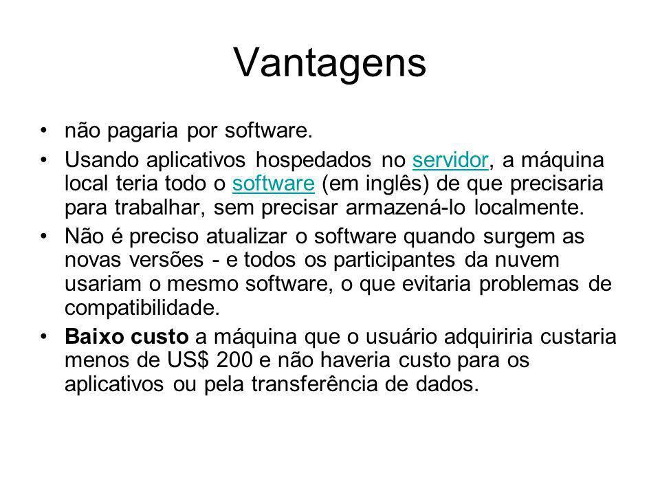 Vantagens não pagaria por software. Usando aplicativos hospedados no servidor, a máquina local teria todo o software (em inglês) de que precisaria par