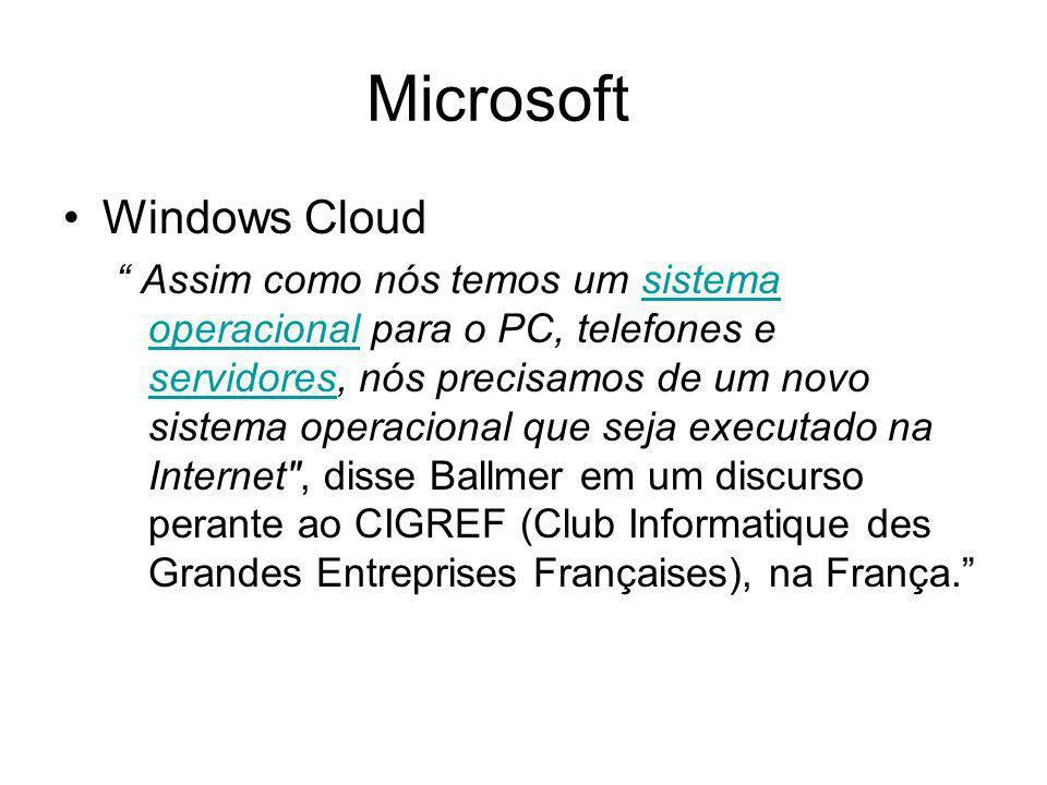 Microsoft Windows Cloud Assim como nós temos um sistema operacional para o PC, telefones e servidores, nós precisamos de um novo sistema operacional q