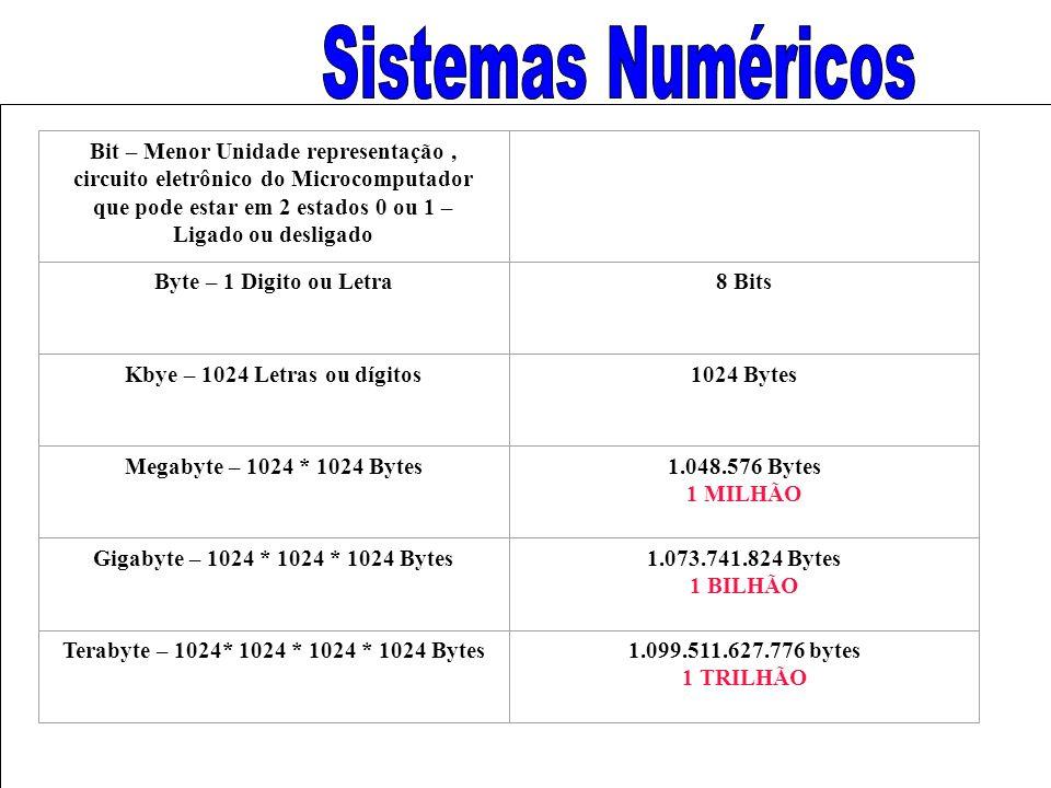 Bit – Menor Unidade representação, circuito eletrônico do Microcomputador que pode estar em 2 estados 0 ou 1 – Ligado ou desligado Byte – 1 Digito ou Letra8 Bits Kbye – 1024 Letras ou dígitos1024 Bytes Megabyte – 1024 * 1024 Bytes1.048.576 Bytes 1 MILHÃO Gigabyte – 1024 * 1024 * 1024 Bytes1.073.741.824 Bytes 1 BILHÃO Terabyte – 1024* 1024 * 1024 * 1024 Bytes1.099.511.627.776 bytes 1 TRILHÃO