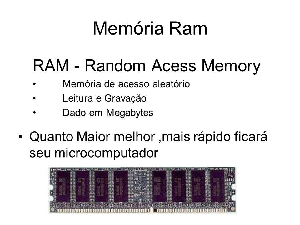 Memória Ram Quanto Maior melhor,mais rápido ficará seu microcomputador RAM - Random Acess Memory Memória de acesso aleatório Leitura e Gravação Dado em Megabytes