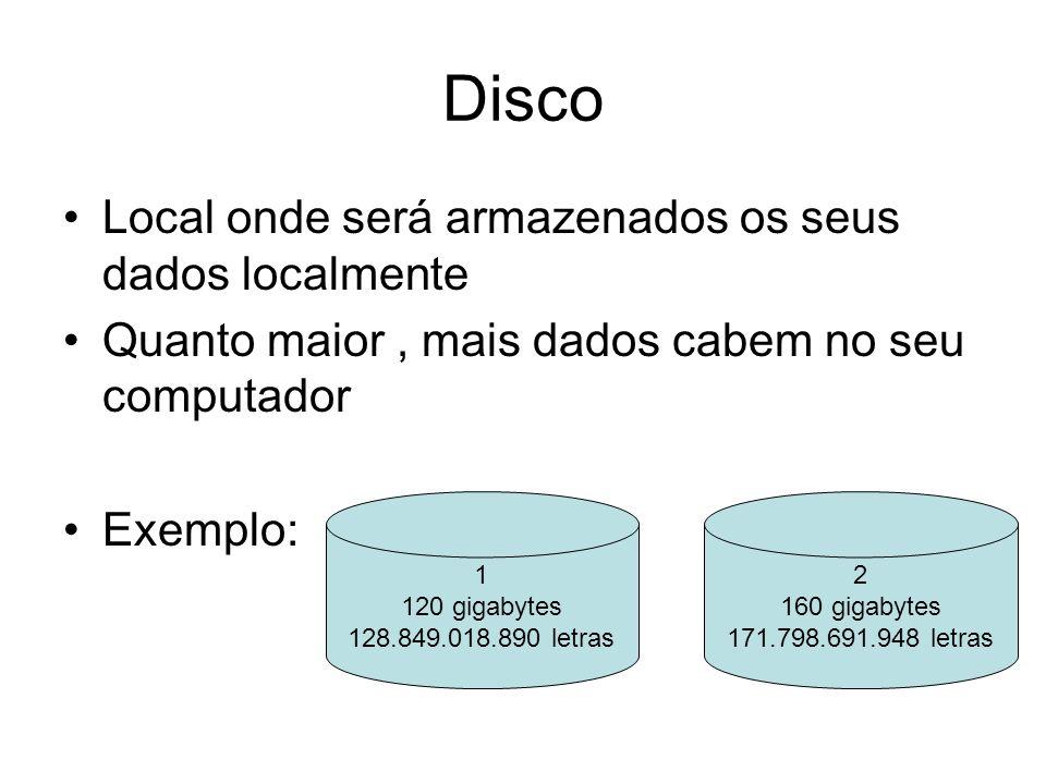 Disco Local onde será armazenados os seus dados localmente Quanto maior, mais dados cabem no seu computador Exemplo: 1 120 gigabytes 128.849.018.890 letras 2 160 gigabytes 171.798.691.948 letras