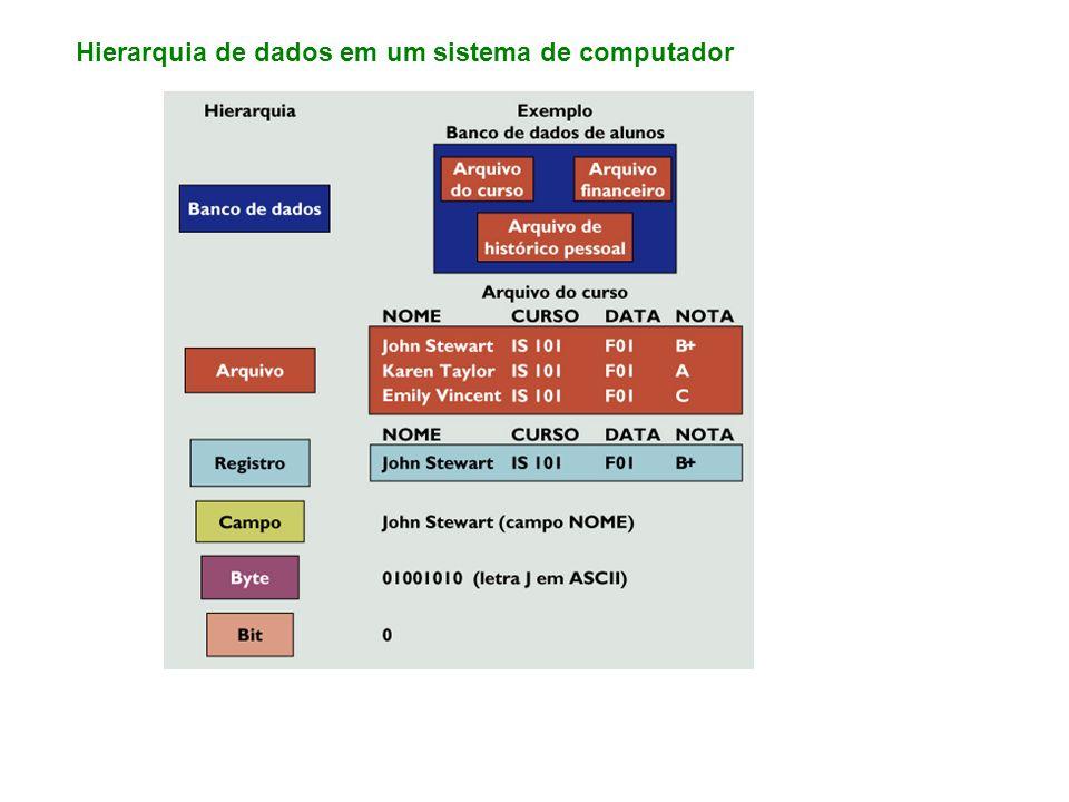 Hierarquia de dados em um sistema de computador