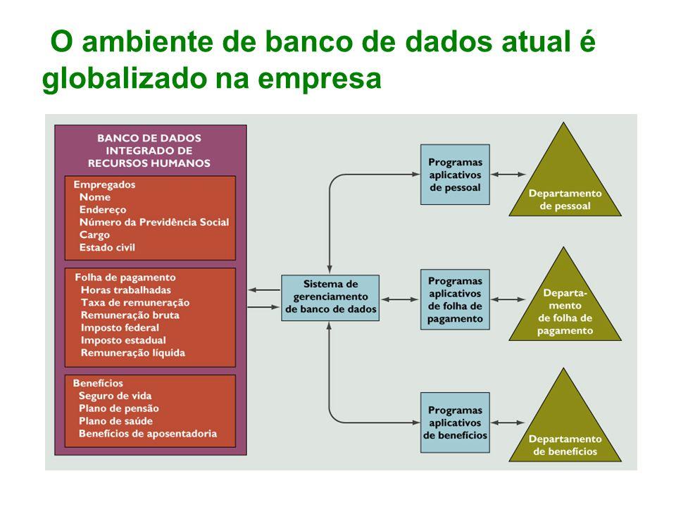 O ambiente de banco de dados atual é globalizado na empresa