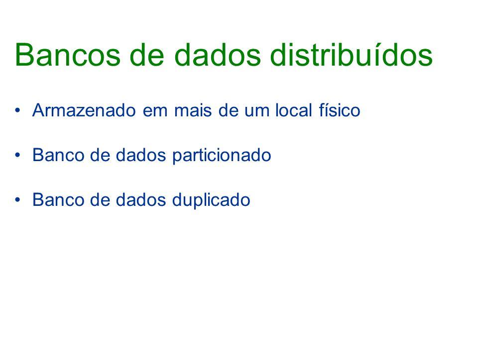 Bancos de dados distribuídos Armazenado em mais de um local físico Banco de dados particionado Banco de dados duplicado