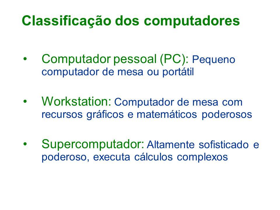 Computador pessoal (PC): Pequeno computador de mesa ou portátil Workstation: Computador de mesa com recursos gráficos e matemáticos poderosos Supercomputador: Altamente sofisticado e poderoso, executa cálculos complexos Classificação dos computadores