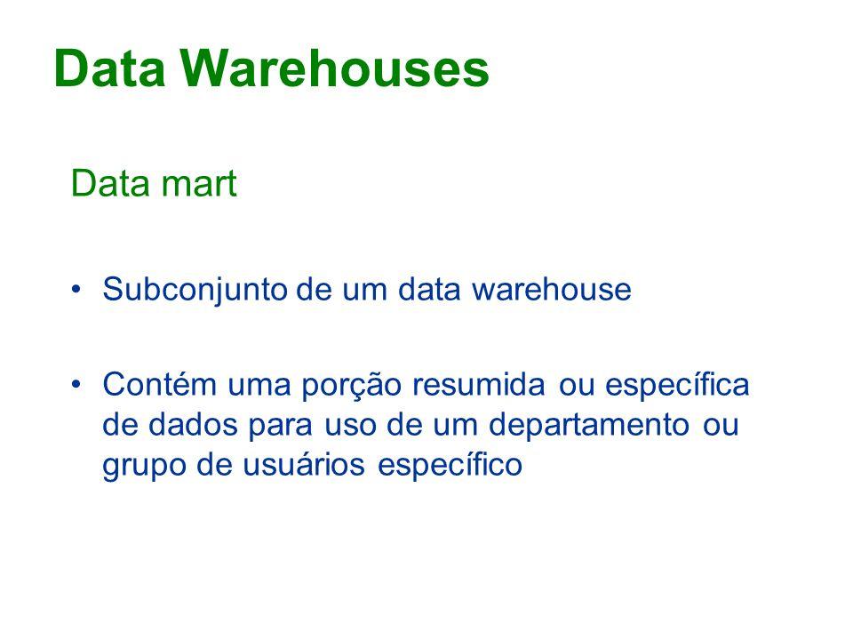Data mart Subconjunto de um data warehouse Contém uma porção resumida ou específica de dados para uso de um departamento ou grupo de usuários específico Data Warehouses