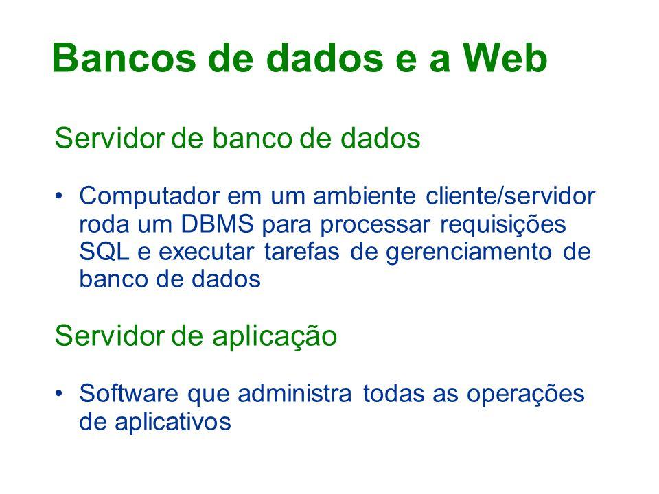 Servidor de banco de dados Computador em um ambiente cliente/servidor roda um DBMS para processar requisições SQL e executar tarefas de gerenciamento de banco de dados Servidor de aplicação Software que administra todas as operações de aplicativos Bancos de dados e a Web