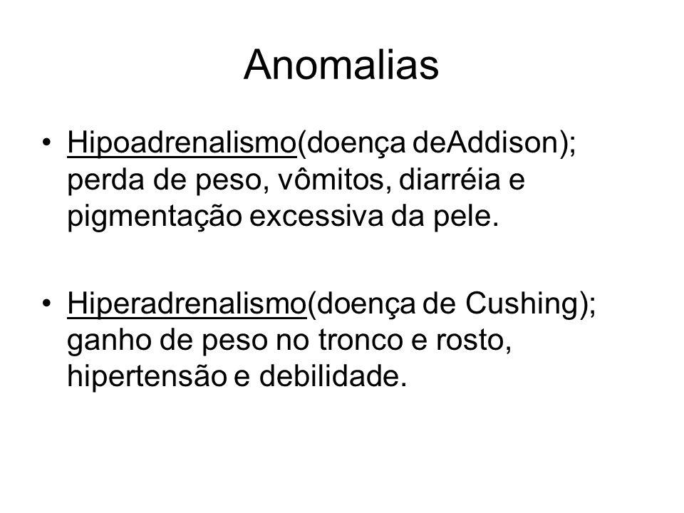 Anomalias Hipoadrenalismo(doença deAddison); perda de peso, vômitos, diarréia e pigmentação excessiva da pele. Hiperadrenalismo(doença de Cushing); ga