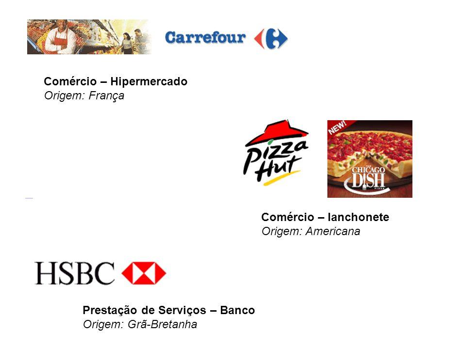 Comércio – Hipermercado Origem: França Prestação de Serviços – Banco Origem: Grã-Bretanha Comércio – lanchonete Origem: Americana