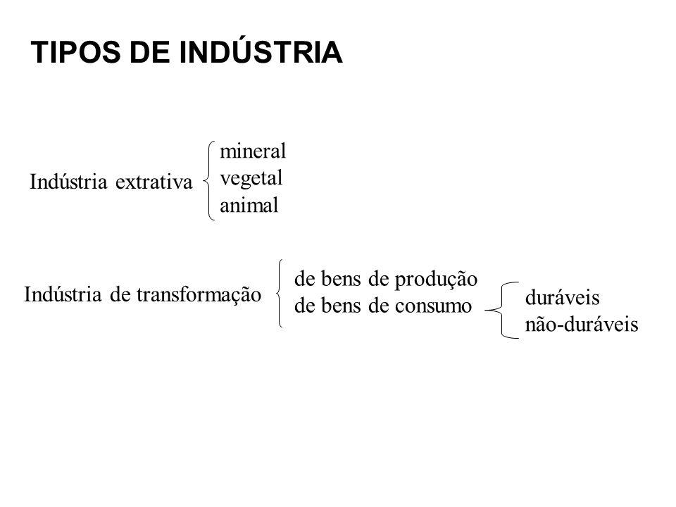 TIPOS DE INDÚSTRIA Indústria extrativa mineral vegetal animal Indústria de transformação de bens de produção de bens de consumo duráveis não-duráveis