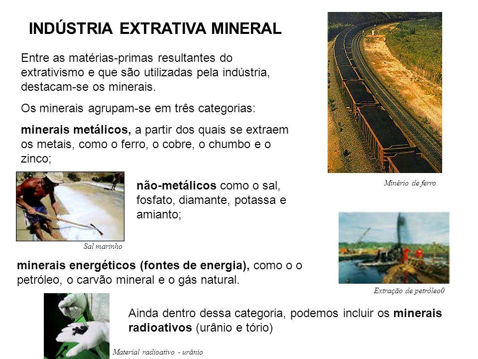 INDÚSTRIA EXTRATIVA MINERAL Entre as matérias-primas resultantes do extrativismo e que são utilizadas pela indústria, destacam-se os minerais. Os mine