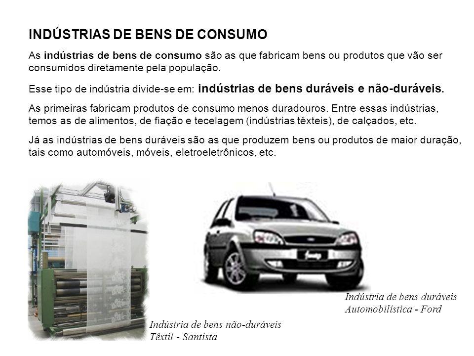 INDÚSTRIAS DE BENS DE CONSUMO As indústrias de bens de consumo são as que fabricam bens ou produtos que vão ser consumidos diretamente pela população.