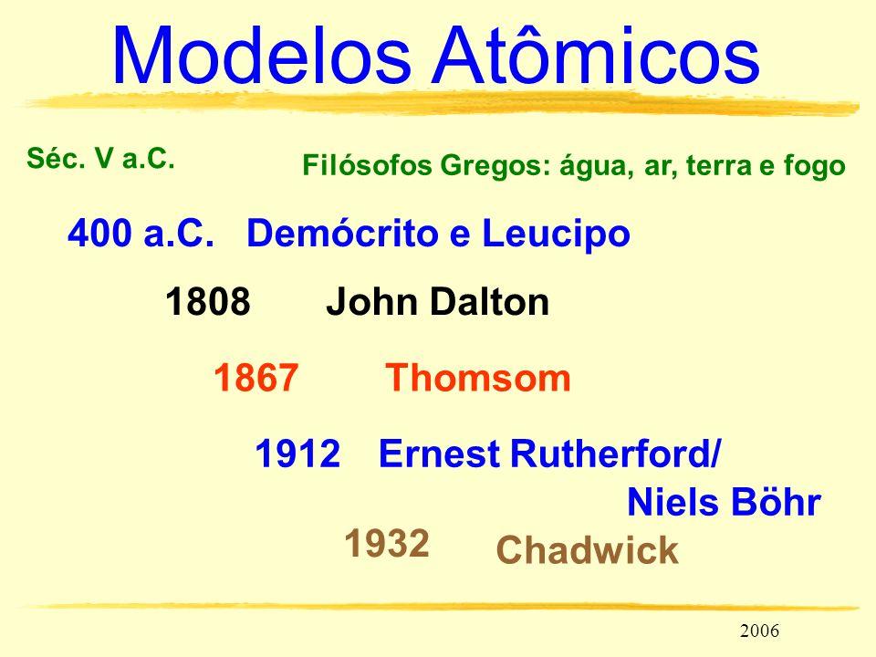 lucocozza@uol.com.br Unicamp 2006 Modelos Atômicos 1932 Séc. V a.C. Filósofos Gregos: água, ar, terra e fogo 400 a.C. Ernest Rutherford/ John Dalton18