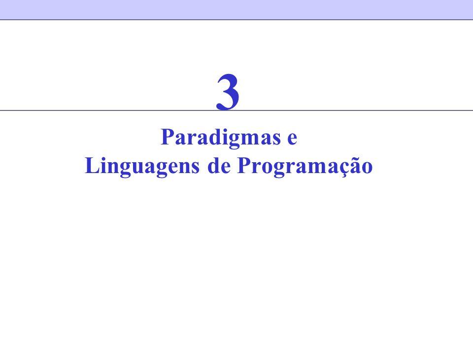 Paradigma de programação Um paradigma de programação é um estilo paradigmático de programar Um paradigma de programação (e determina) a visão que o programador tem da execução de um programa Exemplos –Orientada a objetos –Funcional