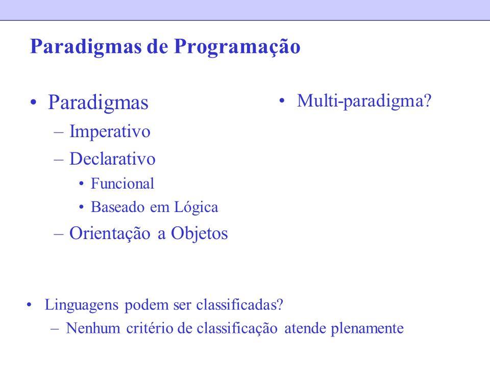 Paradigmas de Programação Paradigmas –Imperativo –Declarativo Funcional Baseado em Lógica –Orientação a Objetos Multi-paradigma? Linguagens podem ser