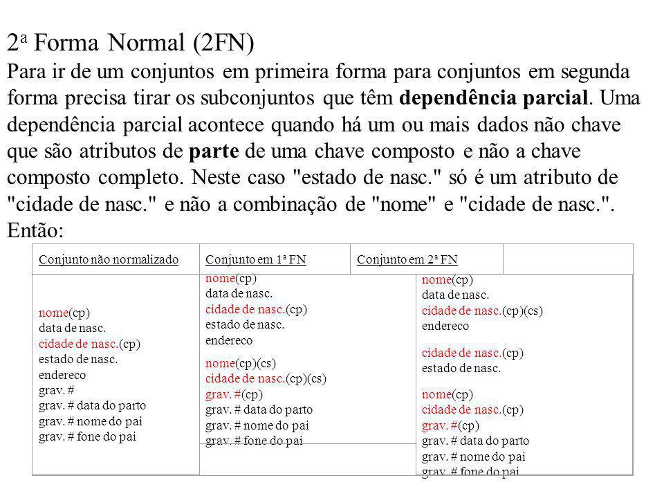 2 a Forma Normal (2FN) Para ir de um conjuntos em primeira forma para conjuntos em segunda forma precisa tirar os subconjuntos que têm dependência par