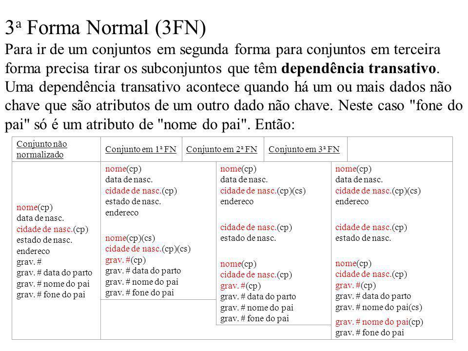 3 a Forma Normal (3FN) Para ir de um conjuntos em segunda forma para conjuntos em terceira forma precisa tirar os subconjuntos que têm dependência tra
