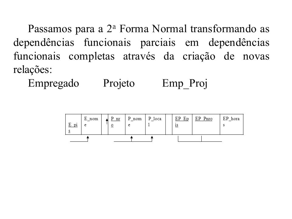 Passamos para a 2 a Forma Normal transformando as dependências funcionais parciais em dependências funcionais completas através da criação de novas re
