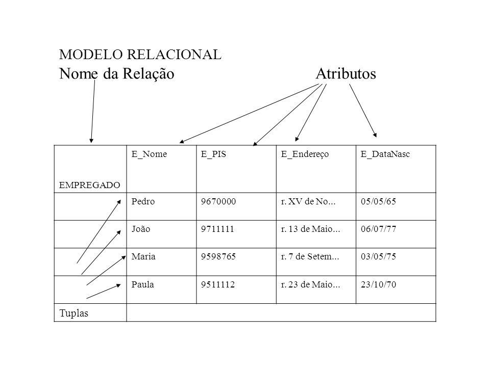 Nome da Relação Atributos EMPREGADO E_NomeE_PISE_EndereçoE_DataNasc Pedro9670000r. XV de No...05/05/65 João9711111r. 13 de Maio...06/07/77 Maria959876