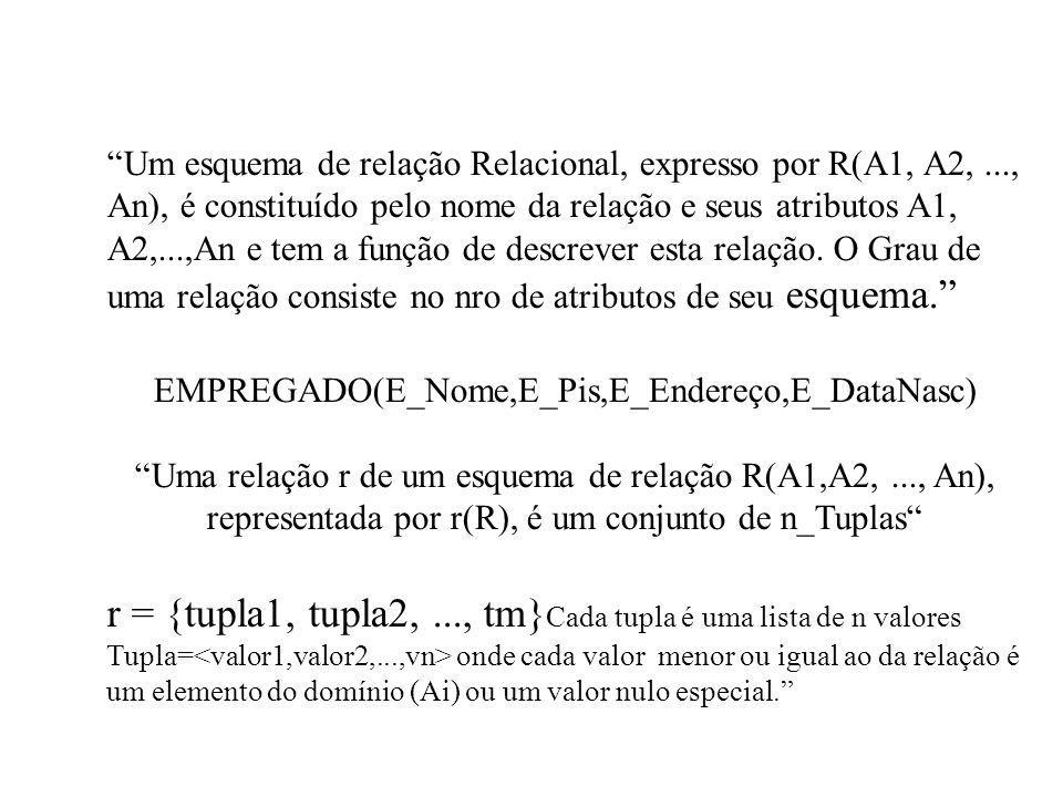 Um esquema de relação Relacional, expresso por R(A1, A2,..., An), é constituído pelo nome da relação e seus atributos A1, A2,...,An e tem a função de