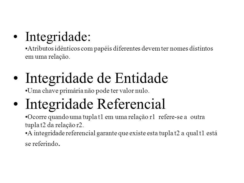 Integridade: Atributos idênticos com papéis diferentes devem ter nomes distintos em uma relação. Integridade de Entidade Uma chave primária não pode t