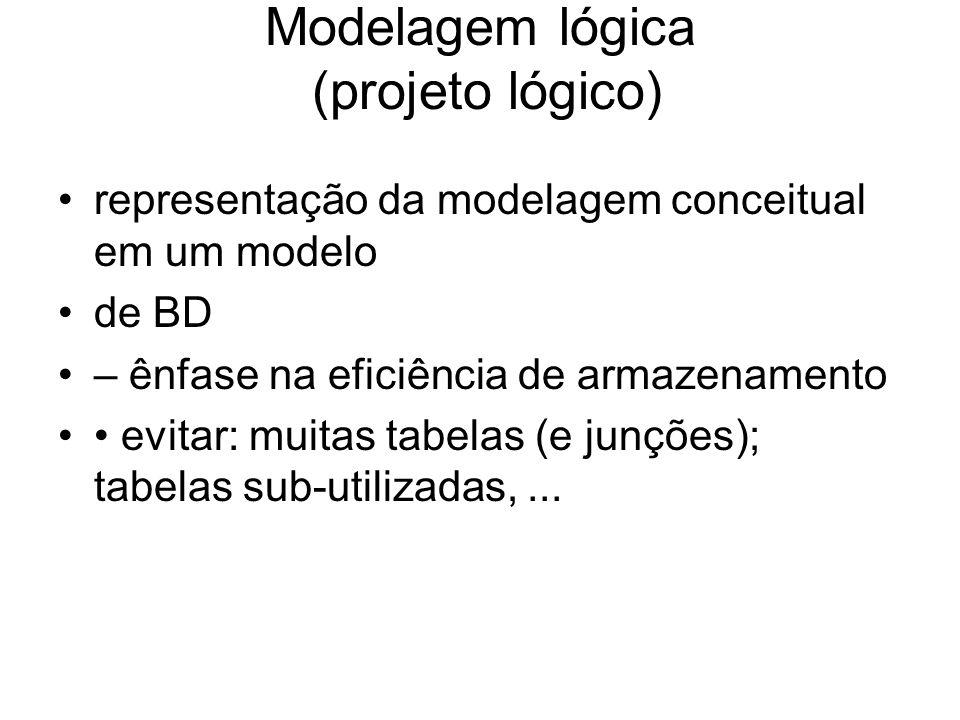 Modelagem lógica (projeto lógico) representação da modelagem conceitual em um modelo de BD – ênfase na eficiência de armazenamento evitar: muitas tabe