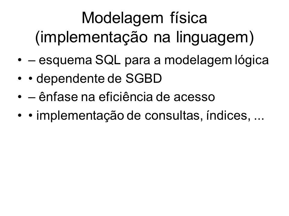 Modelagem física (implementação na linguagem) – esquema SQL para a modelagem lógica dependente de SGBD – ênfase na eficiência de acesso implementação